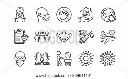 Coronavirus Line Icons Set. Medical Mask, Washing Hands Hygiene, Protective Glasses. Stay Home, Hand
