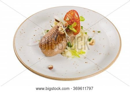 Grilled Duck Breast With Mashed Potato Garnish. Isolated On A White Background.