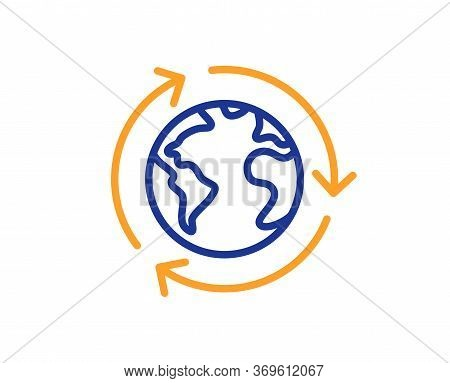 Global Business Line Icon. International Outsourcing Sign. Internet Marketing Symbol. Colorful Thin