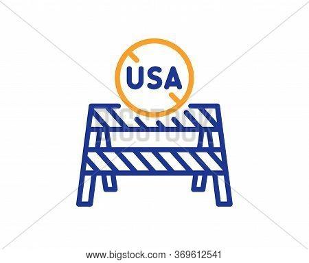 Usa Close Borders Line Icon. Coronavirus Covid-19 Pandemic Sign. Travel Restrictions Symbol. Colorfu