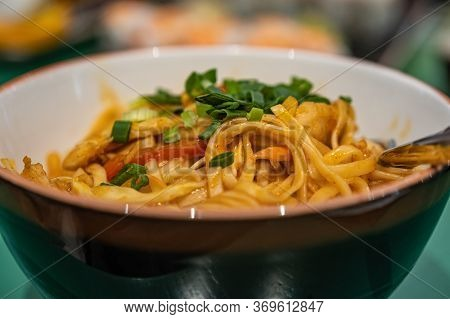 Bowl With Udon Noodles, Chicken And Vegetables. Asian Cuisine
