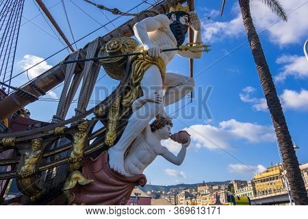 Genoa, Italy - August 18, 2019: The Galleon Neptune Is A Ship Replica Of A 17th-century Spanish Gall
