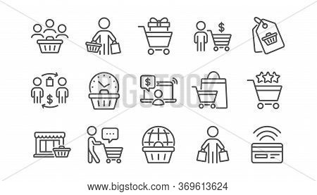 Buyer Customer Line Icons Set. Contactless Payment Card, Shopping Cart And Group Of People. Store, B