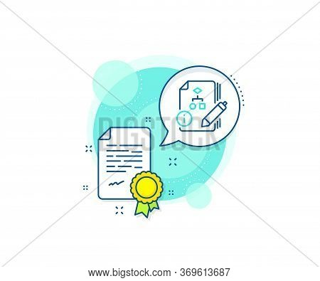 Technical Instruction Sign. Certification Complex Icon. Documentation With Algorithm Line Icon. Cert