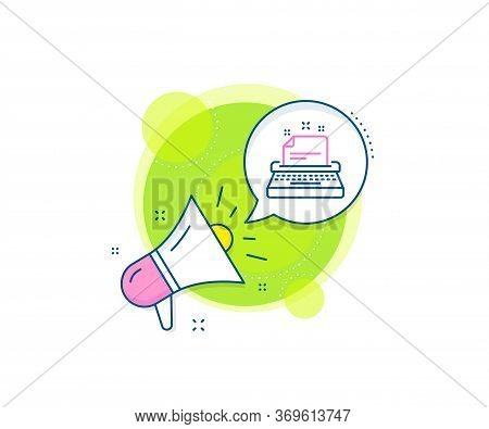 Documentation Sign. Megaphone Promotion Complex Icon. Typewriter Line Icon. Business Marketing Banne