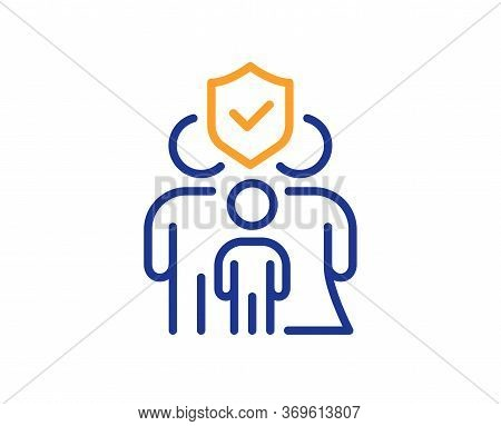 Family Insurance Line Icon. Health Coverage Sign. Life Protection Policy Symbol. Colorful Thin Line