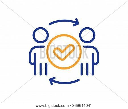 Approved Teamwork Line Icon. Accepted Team Sign. Human Resources Symbol. Colorful Thin Line Outline