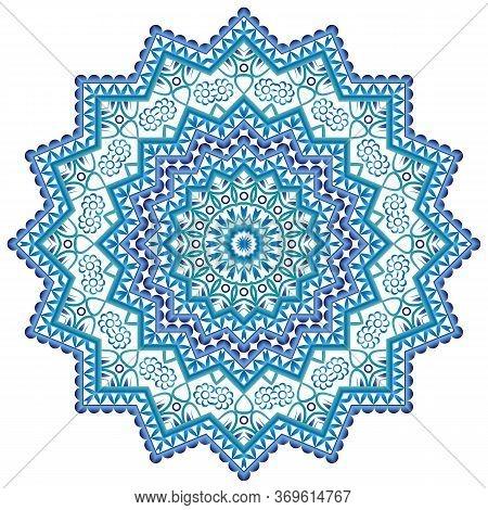 Mandala. Indian Antistress Medallion. Abstract Islamic Flower, Arabic Henna Design, Yoga Symbol. Whi