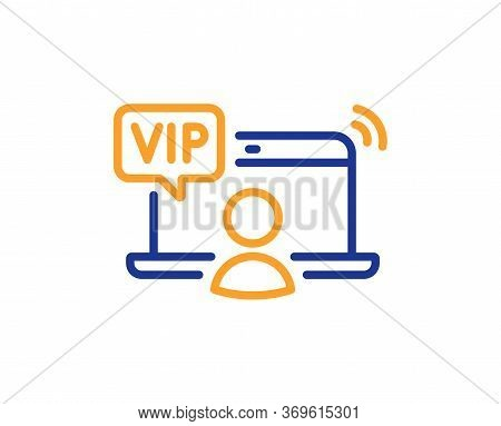 Vip Line Icon. Very Important Person Access Sign. Member Privilege Symbol. Colorful Thin Line Outlin