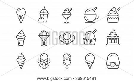 Ice Cream Line Icons Set. Bubble Waffle, Vanilla Sundae, Frozen Yogurt. Sweet Dessert Food, Milkshak