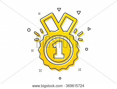 Winner Achievement Or Award Symbol. Reward Medal Icon. Glory Or Honor Sign. Yellow Circles Pattern.