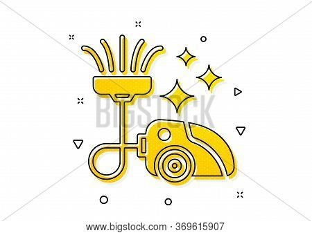 Cleaning Service Symbol. Vacuum Cleaner Icon. Hoover Sign. Yellow Circles Pattern. Classic Vacuum Cl