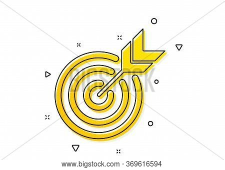 Marketing Targeting Strategy Symbol. Target Icon. Aim With Arrows Sign. Yellow Circles Pattern. Clas