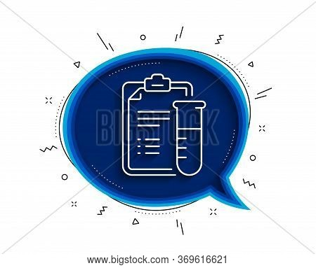 Medical Analyzes Line Icon. Chat Bubble With Shadow. Medicine Beaker Sign. Pharmacy Medication Symbo