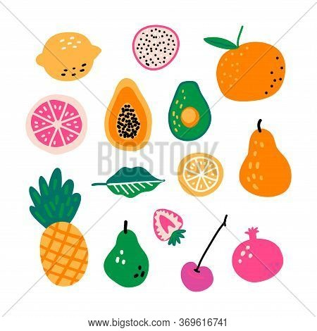 Fruit Hand Drawn Vector Illustration. Cooking Ingredients. Scandinavian Style Cafe Menu, Banner, Coo