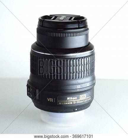 Odessa/ukraine - June 03/2020: Photo Of Af-s Dx Nikkor 18-55 Mm 1: 3.5-5.6 G Vr Of Nikon Photo Lens