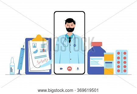 Smartphone With Online Clinic Or Pharmacy App. Specialist Is Ready To Consult A Patient Via Phone. C