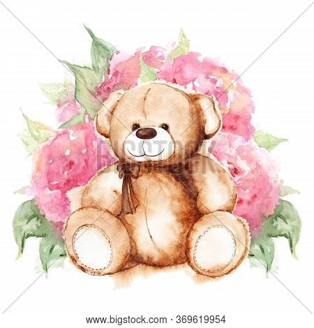 Cartoon Lovely Teddy Bear Toy Saint Valentine's Day Rose Peony Flower Art Isolated