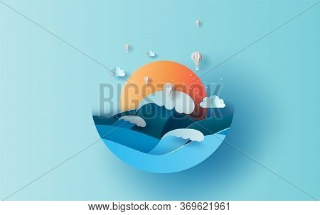 Balloon White Hot Air Of Sea Wave View Landscape Sunlight. Travel In Holiday Summer Season Circle Co