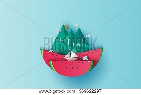 Illustration Of Travel In Holiday Vacation Summer Season Circle Idea. Sea Wave With Watermelon Conce