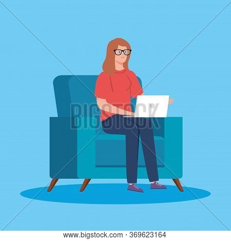 Woman Working In Telecommuting With Laptop In Couch Vector Illustration Design