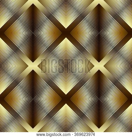 Textured Gold 3d Lines Vector Seamless Pattern. Golden Waffled Surface Background. Repeat Grunge Bac