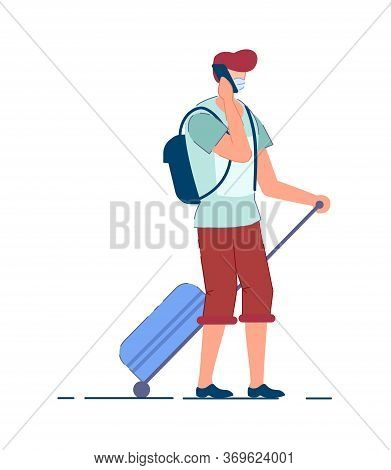 Tourist Man. Traveler Person In Mask Carrying Backpack, Pulling Luggage Wheel Suitcase, Talking On M