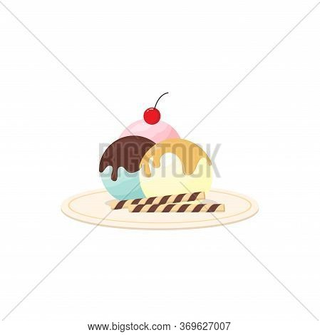Melted Sweet Ice Cream On A Plate With Cherry And Wafer Roll Flat Design Isolated White Background