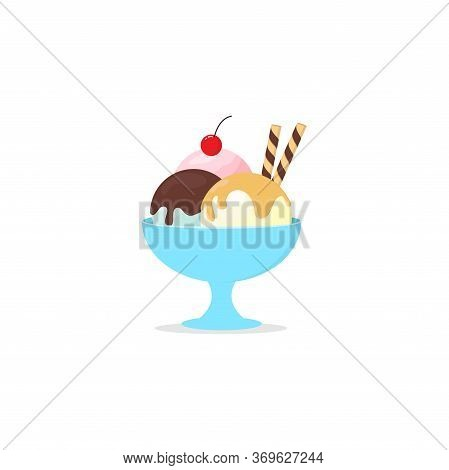 Melted Ice Cream On A Bowl With A Wafer Roll And Cherry Flat Design Isolated White Background