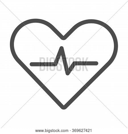 Heartbeat Line Icon, Cardiology Concept, Cardiogram Sign On White Background, Heart With Heartbeat P