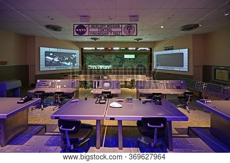 Kennedy Space Center, Merritt Island, Florida - May 30, 2020 - Replica Of Mercury Mission Control Fr
