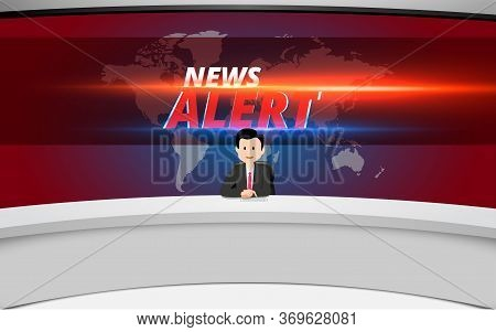 Broadcaster On The White Table And News Alert On Lcd Background In The News Studio Room