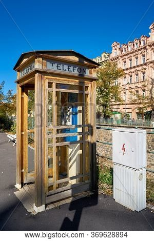 Old Telephone Box In The Old Town Of Karlovy Vary In The Czech Republic