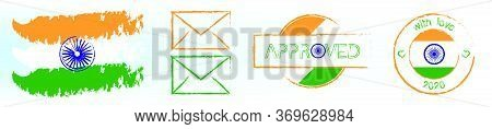 Postal Stamp In Colors And With The Symbols Of Flag Of India. Delivery Of Greeting Cards And Letters