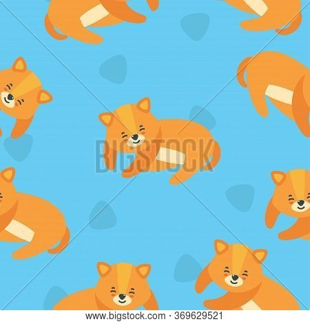 Seamless Pattern With Sleeping Puppy In Bright Blue Background. Cute Puppy Print For Various Designs