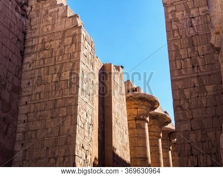 Brickwalls And Columns Of Karnak Temple, Medium View. Photographed In Luxor, Egypt. Selective Soft F