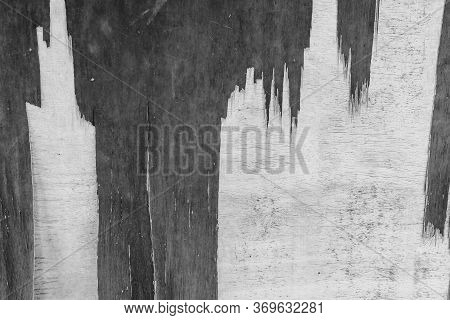 Close-up Of Wood Wall Is Crack And Peeled Paint Caused By Water And Sunlight. Peel Wall Of White Hou