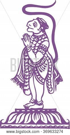 Drawing Or Sketch Of Lord Hanuman Standing And Doing Namaste Outline Editable Vector Illustration
