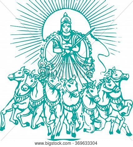 Drawing Or Sketch Of Lord Surya Riding A Seven Horse Editable Vector Outline Illustration
