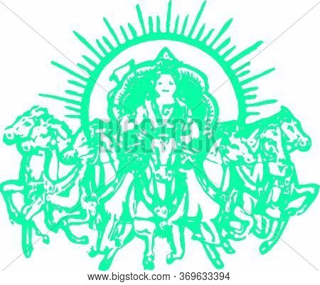 Drawing Or Sketch Of Lord Surya Deva Or Surya Riding A Horse Editable Vector Outline Illustration