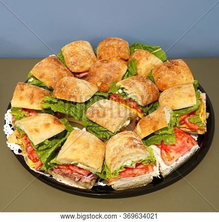 Close Up On Fresh Sandwich In The Platter