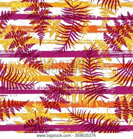Decorative New Zealand Fern Frond And Bracken Grass Over Painted Stripes Seamless Pattern Design. Ca