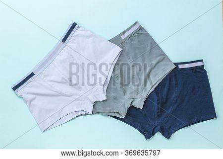 Set Of Mens Underwear On A Light Background. Mens Underwear.