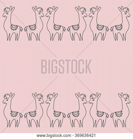 Postcard Design Template, Cute Lama. Border, Vector