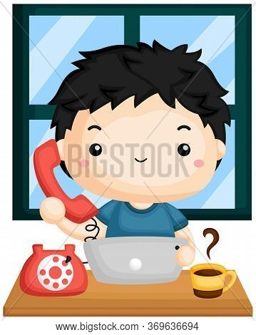 A Vector Of A Man Taking A Call While Working