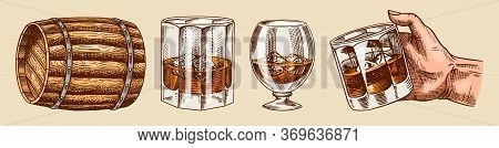 Vintage Whiskey Set. Wooden Barrel, Scotch And Bourbon, Wheat And Rye, Glass Bottle, Victorian Man,