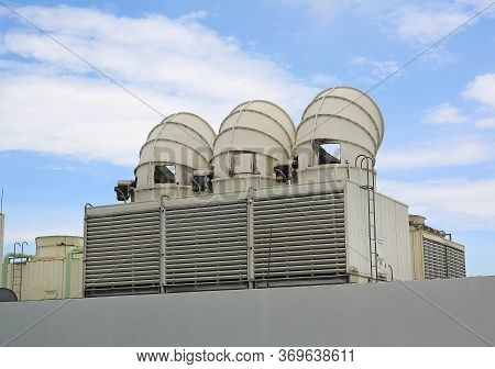 Cooling Tower On The Roof Floor, Cooling System.