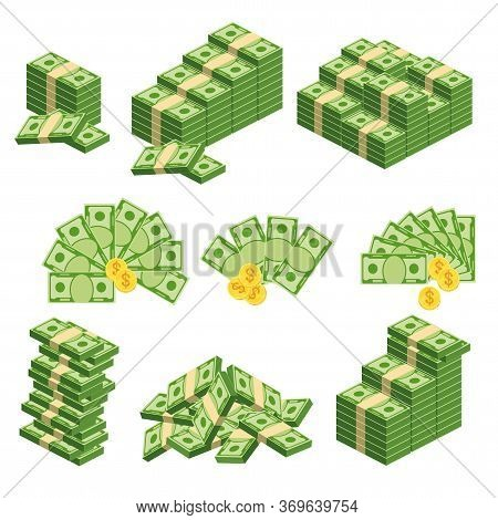 Huge Packs Of Paper Money. Bundle With Cash Bills. Keeping Money In Bank. Deposit, Wealth, Accumulat