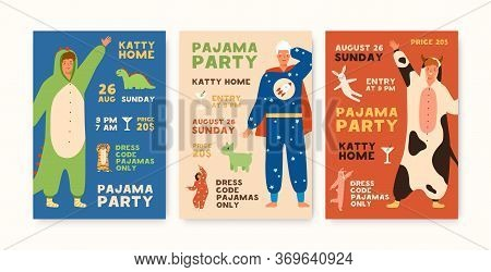 Set Of Poster Or Flyer Templates Pajama Party With People Dressed In Funny Jumpsuits Vector Flat Ill