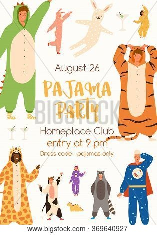 Announcement Of Pajama Party Poster Vector Flat Illustration. Colorful Man And Woman In Funny Onesie